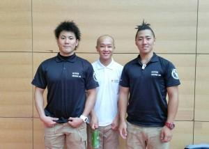 救護に当たった3人のスポーツトレーナーと柔整師