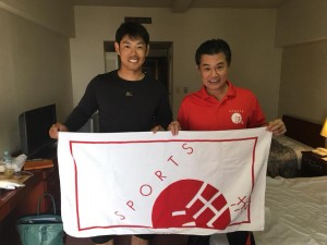 阪神タイガース原口選手と近畿医療専門学校田中理事
